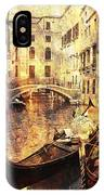 Canal And Docked Gondolas In Venice IPhone Case