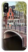 Canal Bridge And Houses In Amsterdam IPhone Case