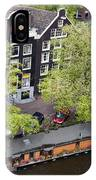 Canal Houses And Houseboat In Amsterdam IPhone Case