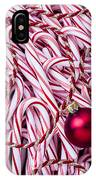 Candy Cane And Red Ornament IPhone Case