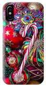 Candy Canes And Colorful Ornaments IPhone Case