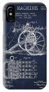 Capps Machine Gun Patent Drawing From 1902 - Navy Blue IPhone Case
