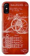 Capps Machine Gun Patent Drawing From 1902 - Red IPhone Case