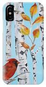 Cardinals Among The Birch-d IPhone Case