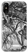 Caripuna Indians With Tapir, From The Amazon And Madeira Rivers, By Franz Keller, 1874 Engraving IPhone Case