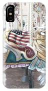 Carousel Merry Go Round Horses - Dreamy Baby Blue Carousel Horses Carnival Ride And American Flag IPhone Case