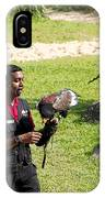 Cartoon - A Trainer And A Large Bird Of Prey At A Show Inside The Jurong Bird Park IPhone Case