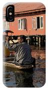 Cartoon - Man Rowing A Family In A Wooden Boat IPhone Case