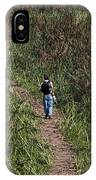 Cartoon - Man Walking Through Tall Grass In The Okhla Bird Sanctuary IPhone Case