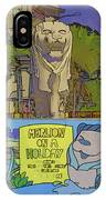 Cartoon - Statue Of The Merlion With A Banner Below The Statue IPhone Case
