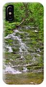 Cascade Over Mossy Rocks Along La Chute Trail In Forillon Np-qc IPhone Case