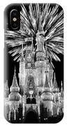 Castle With Fireworks In Black And White Walt Disney World IPhone Case