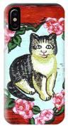 Cat In Heart Wreath 1 IPhone Case