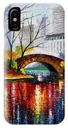 Central Park - Palette Knife Oil Painting On Canvas By Leonid Afremov IPhone Case
