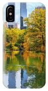 Central Park Pond Autumn Reflections IPhone Case