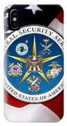 Central Security Service - C S S Emblem Over American Flag IPhone Case