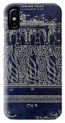 Champagne Bottle Freezer Patent 1902 Blue IPhone Case