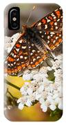 Checkerspot Butterfly On A Yarrow Blossom IPhone Case