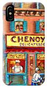 Chenoys Delicatessen Montreal Landmarks Painting  Carole Spandau Street Scene Specialist Artist IPhone Case