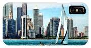 Chicago Il - Sailboat Against Chicago Skyline IPhone Case
