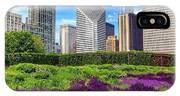 Chicago Skyline At Lurie Garden IPhone Case