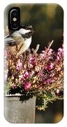 Chickadee On Heather IPhone Case