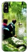 Children And Ducks In Park IPhone Case