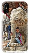 Children Love The Elephants In Patan Durbar Square In Lalitpur-nepal IPhone Case