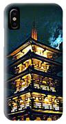 Chinese Pagoda At Night With Full Moon IPhone Case