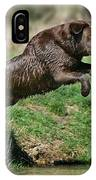 Chocolate Labrador Jumping IPhone Case