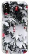 Christmas Decorations On Snowy Tree IPhone Case