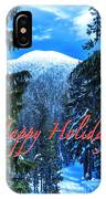 Christmas Holidays Scenic Snow Covered Mountains Looking Through The Trees  IPhone Case