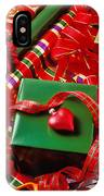 Christmas Wrap With Heart Ornament IPhone Case
