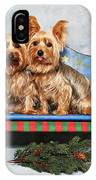 Christmas Yorkie Twins IPhone Case