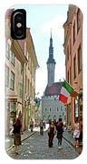 Church At End Of Street In Old Town Tallinn-estonia IPhone Case