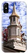 Church Steeple In Autumn Blue Sky Clouds Fine Art Prints As Gift For The Holidays IPhone Case