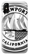 City Of Newport Beach Sign Black And White Picture IPhone Case