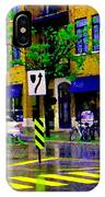 City Street Relections In The Rain Quebec Art Colors And Seasons Montreal Scenes Carole Spandau IPhone Case