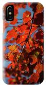 Close Up Of Bright Red Leaves With Blue IPhone Case