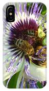 Close Up Of Passion Flower With Honey Bee  IPhone Case