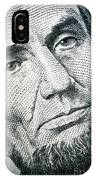Closeup Of A Five Dollar Bill IPhone Case