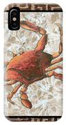 Coastal Crab Decorative Painting Greek Border Design By Madart Studios IPhone Case