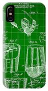 Cocktail Mixer And Strainer Patent 1902 - Green IPhone Case
