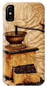 Coffee Mill And Beans In Grunge Style IPhone Case