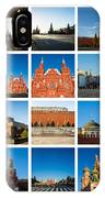 Collage - Red Square In The Morning IPhone Case