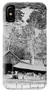 Colorado Rocky Mountain Barn Bw IPhone Case