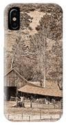 Colorado Rocky Mountain Barn Sepia IPhone Case