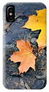 Colored Maple Leaf On Stone IPhone Case