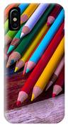 Colored Pencils On Wooden Flag IPhone Case