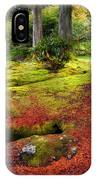 Colorful Carpet Of Moss In Benmore Botanical Garden. Scotland IPhone Case